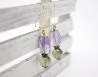 Amethyst Earrings with Prehnite, Gemstone Statement Earrings, Long Earrings, Kidney Earrings, Purple and Green, Lavender Amethyst