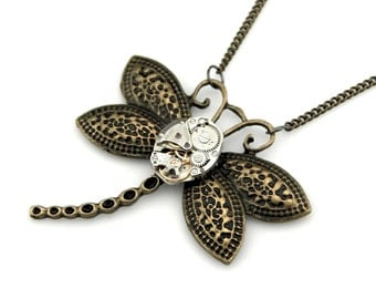 Dragonfly Necklace  -  Clockwork Dragonfly Pendant - Vintage Steampunk Watch Flying Pendant