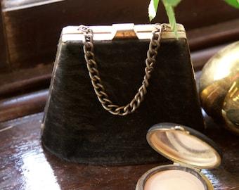 1930s / 1940s black velvet purse with original compact
