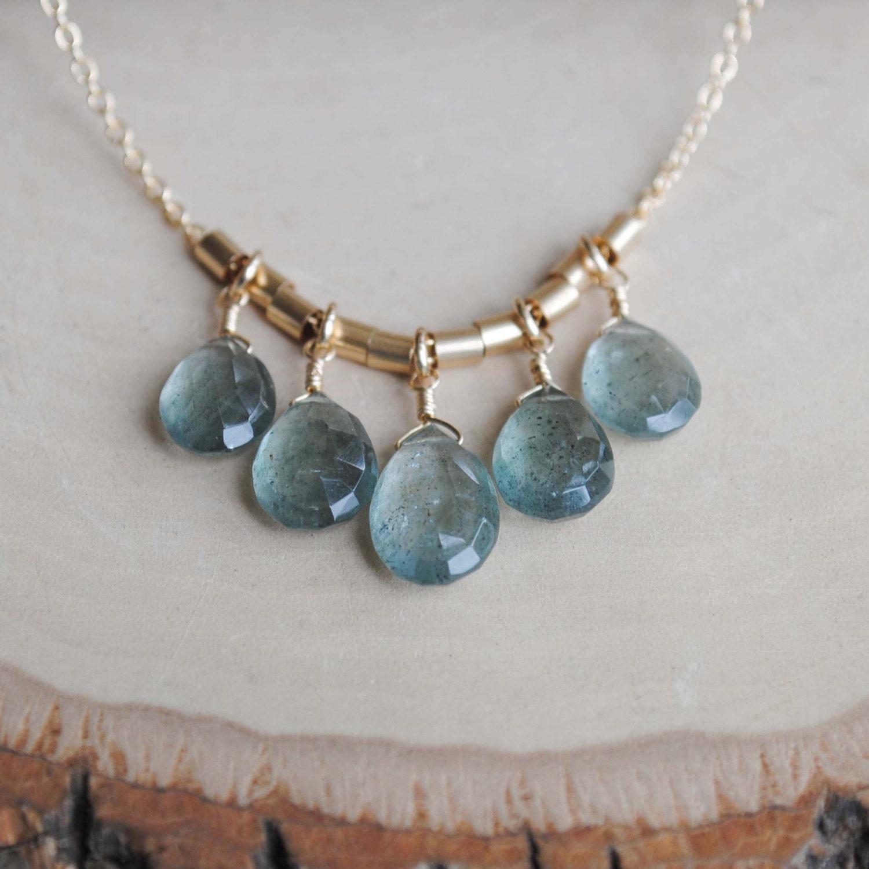 Aquamarine Necklaces: Gold Moss Aquamarine Necklace Aquamarine Necklace March