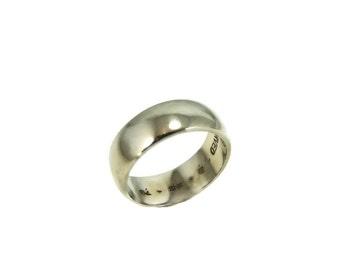 14k White Gold Wedding Band Ring Wide Artcarved Vintage