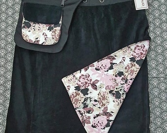 Sale-Velvet Free Size Reversible  Wrap Knee Length Black and Pink Flower Print