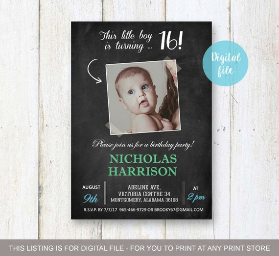 Sweet 16th Birthday Invitation For Boys Personalized