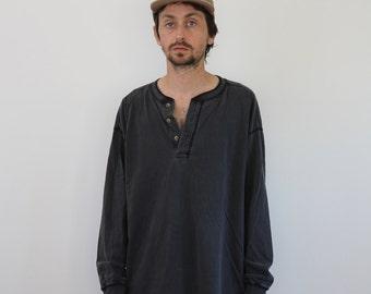 Henley Faded Black Long Sleeve Large