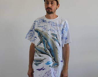 90s Whales All Over Print Tee XL