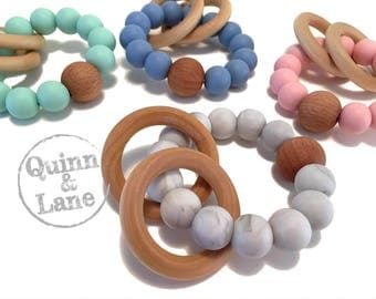 Silicone Teething Ring - Baby Toy - Silicone Beads - Teether Chewing Beads - Chew Jewelry Beads - Chew Toy Beads - Rattle Rings