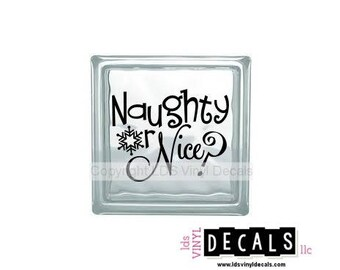 Naughty or Nice? - Christmas Vinyl Lettering for Glass Blocks - Craft Decals
