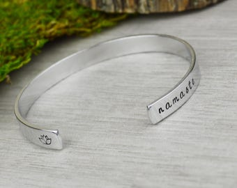 Namaste Hand Stamped Aluminum Brass or Copper Bracelet