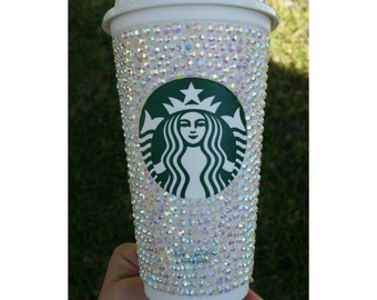 Personalized Blinged Out Coffee Travel Mug with Lid