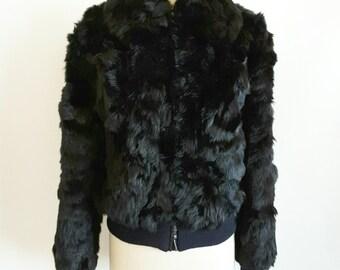 Women's Genuine Black Rabbit Fur Jacket