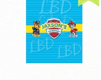 Paw Patrol Candy Bar Wrappers - YOU PRINT