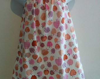 Size 4 Girls Apple Dress with Flutter Sleeves. White, pink, red, brown