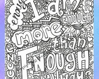Colouring Page Quote Affirmation Adult Colouring Page Digital Download PDF