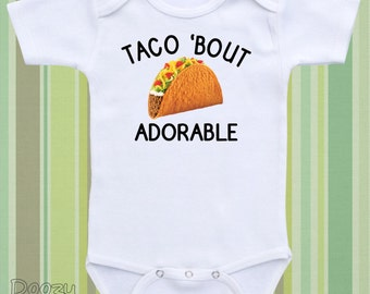 Funny Baby Onesie ® or Bodysuit. Taco Onsie ® Funny Baby Shirt Gender Neutral Baby Shower Gift for Baby Boy Baby Girl  - Taco 'Bout Adorable