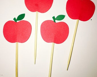 24 Apple Cupcake Topper / Food pick / Back to School