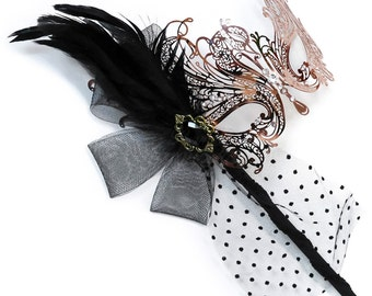 Rose Gold Goddess Filigree Metal Venetian Masquerade Mask with Handheld Stick - Soft Feather Adornments