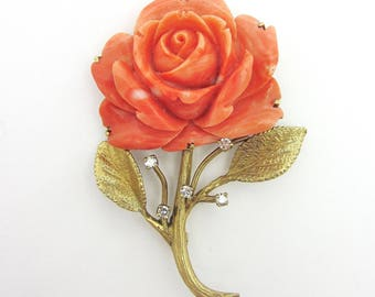 Vintage Estate Large Carved Coral Rose and Diamond Brooch 14k Yellow Gold