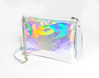 Holographic leather bag, Iridescent Crossbody bag, Small Hologram clutch, Mermaid Glitter purse, Shiny Opal Clutch, Rainbow Leather Purse