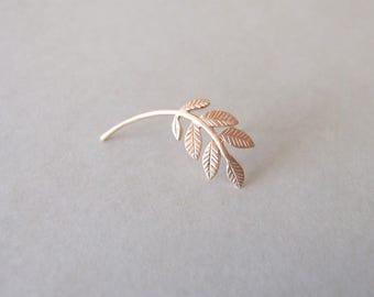Rose Gold Leaves Cartilage Earring - gold cartilage earring , helix earring , leaves cartilage earring , woodland cartilage