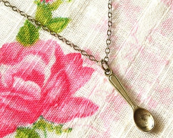 Spoon Necklace, Spoon Jewelry, Tiny Spoon Charm, Mini Spoon Pendant, Spoon Theory, Spoonie Jewelry, Antiqued Spoon, Silver Spoon Nickel Free