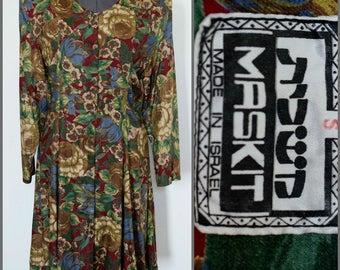 MASKIT Israel Vintage 1980's Button-Front Mini Dress/Tunic Viscose Floral Print, Size M - Rare!