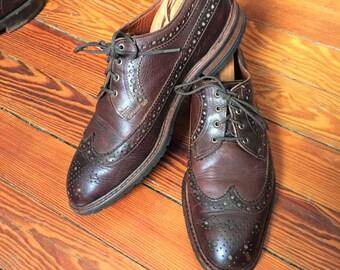 Newer Vintage Allen Edmonds Aberdeen Brown Waxed Leather Commando Sole Wingtip 9.5D