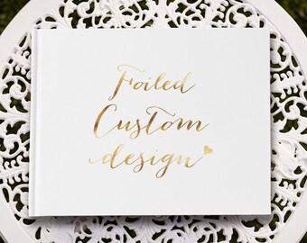 Landscape Custom Gold Foil Wedding Guest Book, Copper Wedding Guest Book, Silver Wedding Guest Book, Bridal Guest Book