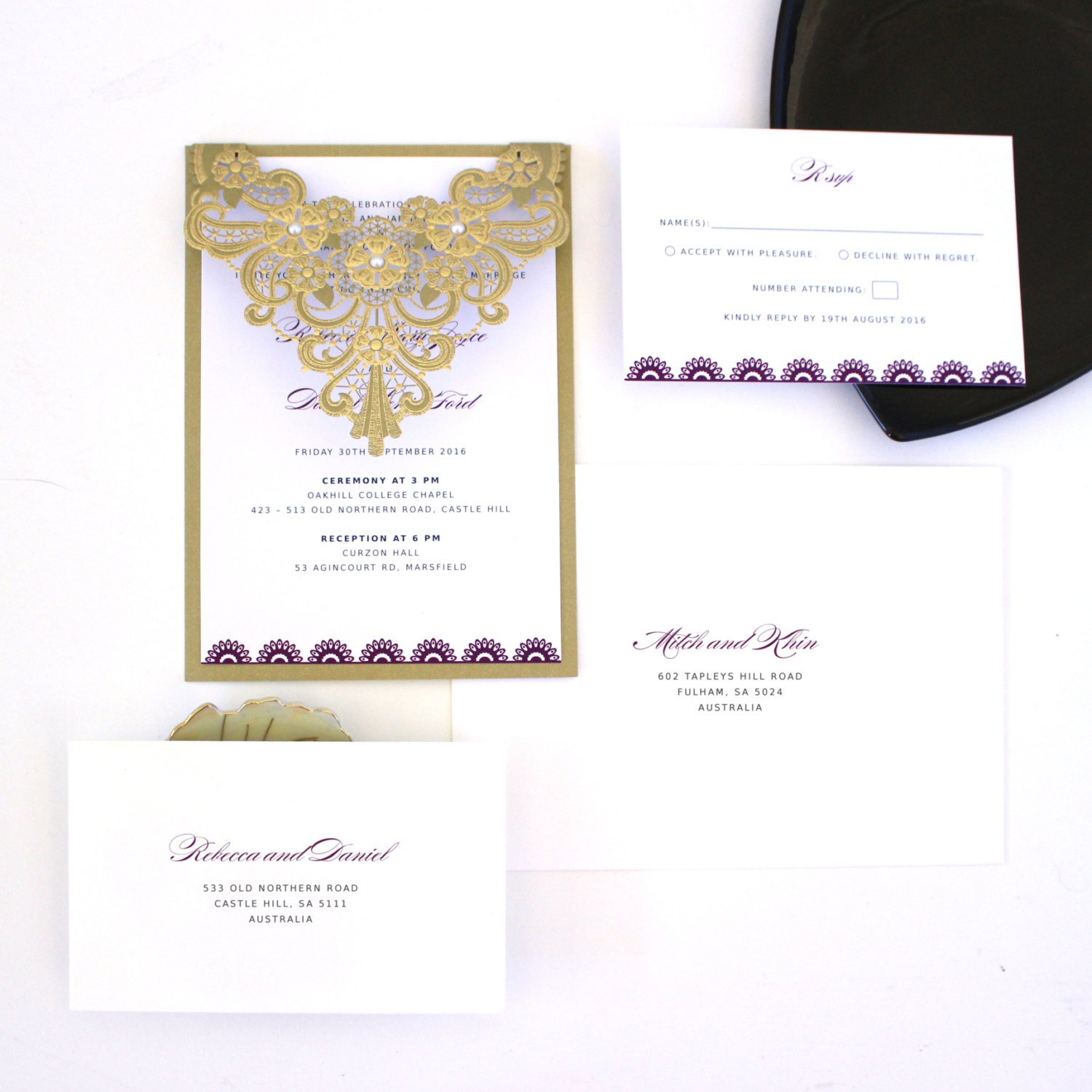 Gold And Purple Wedding Invitations: Purple And Gold Wedding Invitations Laser Cut Gold Wedding
