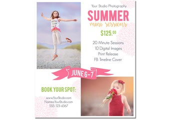 INSTANT DOWNLOAD, Mini Session Postcard, Photography Template, Flyer, Beach, 5x7, Minis, Photoshop, Elements, Easy, Summer Photo Session
