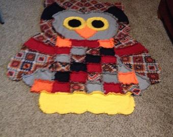 Owl Rag Quilt/Wall Hanging/Rug-Aztec print