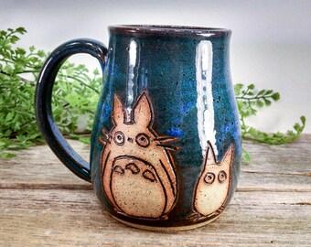 Little Totoros Mug - 16 oz Bright Blue Wheel Thrown Hand Carved Studio Ghibli Coffee Cup