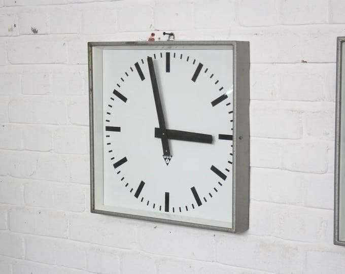 Light Grey Industrial Factory Clocks By Pragotron Circa 1960's