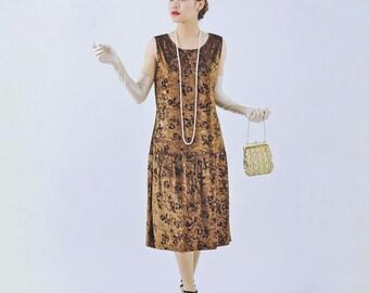 Brown velvet 1920s flapper dress, velvet Great Gatsby dress, Roaring Twenties women dress,   brown flapper costume, Charleston dress