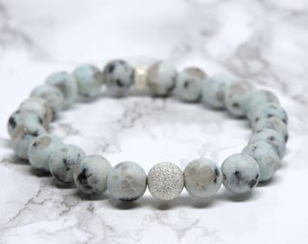 Gorgeous Mint Jasper Stretch Bracelet, Sterling Silver Accents, Stretch Bracelet, Mint and Sterling Silver Beaded Stretch Bracelet
