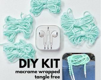 DIY Macrame Wrapped Earbuds Kit, Apple EarPods Make it Yourself Macrame Tutorial Craft Kit, Do it Yourself Macrame Project Kit by MyBudsBuzz