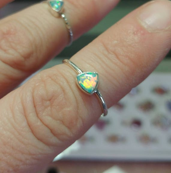 Simple Opal Ring | Sterling Silver Ring Sz 7 | Solid Opal Ring | Opal Jewelry | Triangle Opal Ring | Welo Opal Ring | Precious Opal Ring