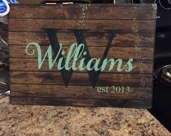 Last Name on Glass Cutting Board with Year Established