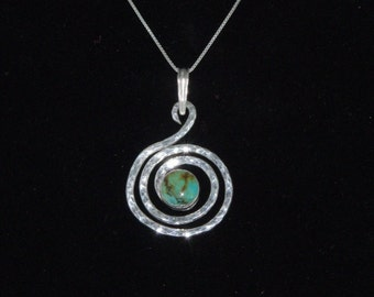 Sterling Silver Spiral with Kingman Turquoise Pendant