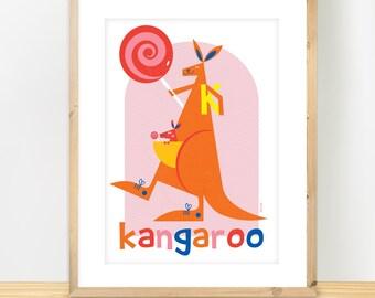 K for Kangaroo poster, Australian animals, nursery art, cute wildlife art, baby shower gift, Scandinavian animal print, A3 print