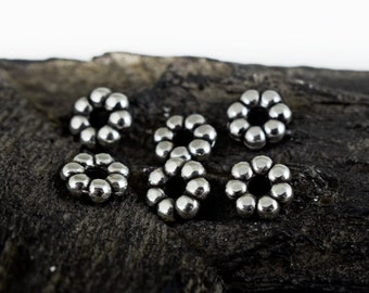 Silver Plated Daisy Bead Spacers 9mm, Flower Washer Beads , Jewelry Supplies