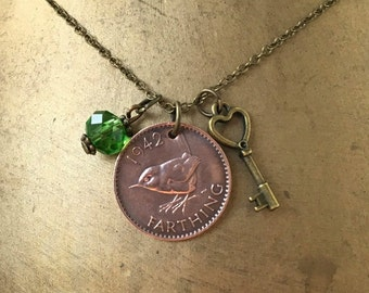 75th birthday gift, 1942 farthing necklace, British coin jewelry, wren pendant, present for her, English  coin charm pendant, England, woman