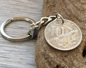 Aussie 1999 coin keychain, Australian keyring, bag charm, 18th birthday, anniversary gift Australia present for him or her, coming of age