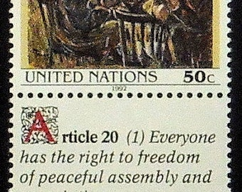 Human Rights, United Nations -Handmade Framed Postage Stamp Art 21395AM