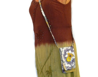 Cell Phone Crossbody Bag - Yellow/Grey/Purple Flowers