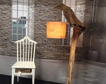 Floor Lamp weathered old oak stump.