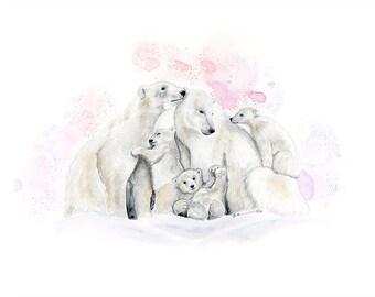 Arctic Nursery Art - Polar Bear Print - Polar Bear Family - Northern Lights - Arctic Animal - Polar Bears Watercolor - Polar Bear Nursery