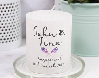 Engagement Motif Metallic Candle - Personalised Candle - Engagement Candle - Wedding candle - Happy Engagement Gift - Got Engaged Candle
