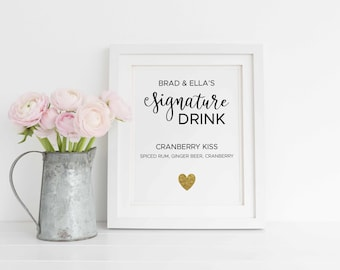 Signature Drink Sign with Gold Heart, Editable Signature Drink Printable, Wedding Bar Sign, Wedding Editable Bar Sign. Instant Download
