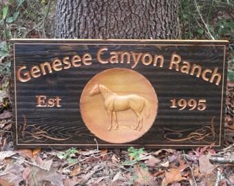 Horse Ranch Sign Custom Farm Name Signs Cedar Outdoor Business Sign Quarter Horse Stable Sign custom outdoor Signs Establish Name Sign