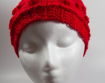 Red crochet ear warmer headband